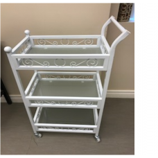 White Metal and Glass trolley